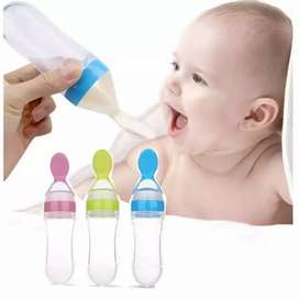 Baby Silicone Feeding With Spoon Feeder Food Rice Cereal Bottle New