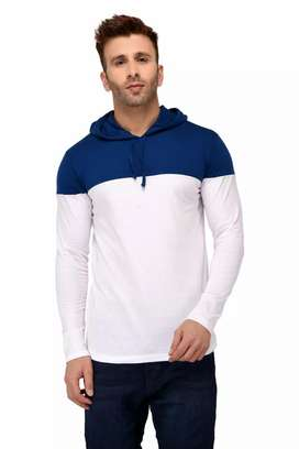 Fresh Arrival ! Colourblocked Cotton Hooded T-Shirts