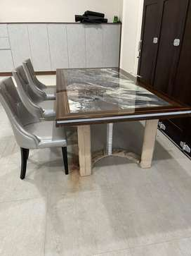 Imported Dining Set Table Marble
