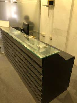 OFFICE COUNTER BLACK WITH DRAWERS AND SPACE FOR PC