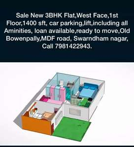Sale 3Bhk Flat 1400 sft ,west, old bowenpally, MDF Rd,1st flr,66 lacs