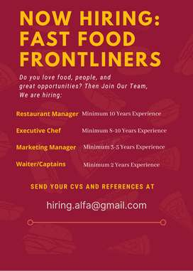 Restaurant professional Staff's required