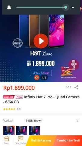 Infinix Hot 7 Pro-Quad kamera-6/64GB warna blue Dan brown