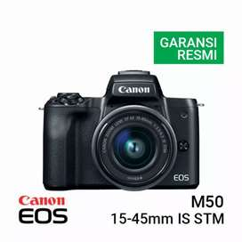 Credit Canon EOS M50 Kit EF-M 15-45mm IS STM Black Garansi Resmi