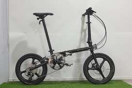 Sepeda Lipat Element Troy x10 Black Chrome Carbon bonus Koper Sepeda
