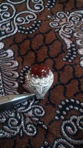 Chandi ring with red haqeeq