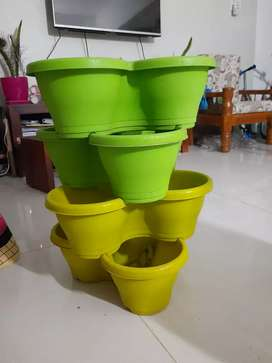 Plastic Stack-A-Pot Decorative Pots for Indoor & Out Door Planter