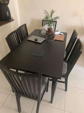 Premium Dining Table + 6 Chair Black (Imported from UAE)