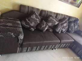 Sofa with lounger and one puffy