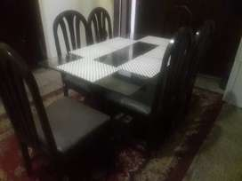 6 seater wooden dinning table and chairs