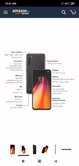 Redmi note 8, 4 days old, sealed pack in black colour.