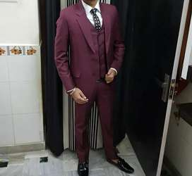 Burgundy color three piece suit