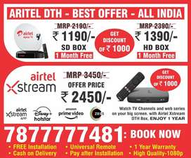 Airtel dth Settop box airtel xstream box dth connection buydth tatasky