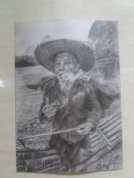 Dijual lukisan pensil hyperrealistik ukuran 15cm×21cm
