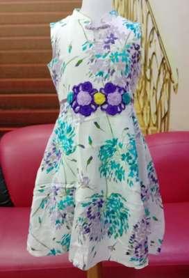 Dress anak Model butik Katun Berfuring Usia 10-12 tahun murah