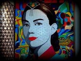 jasa mural lukis dan siluet wajah