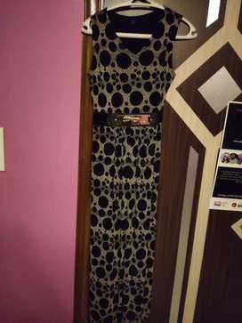 Polka Dot Long Dress by Diya Design Studio with Leopard Belt