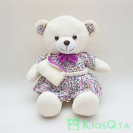 boneka teddy bear krem gaun bunga ungu dan tas