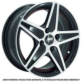 Velg Mobil AMW Starfish R14x6,0 pcd 4x100 ET 35 Agya/Avega/Neo
