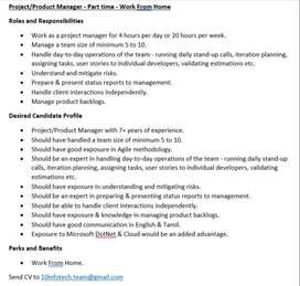 Project/Product Manager - Part time - Work From Home