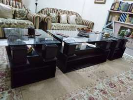 Center table/Coffee table & two end tables with glass top