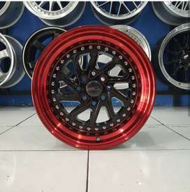Velg Mobil Visto Agya dll Ring 15 HSR DOBO BLACK RED H4X100-114,3