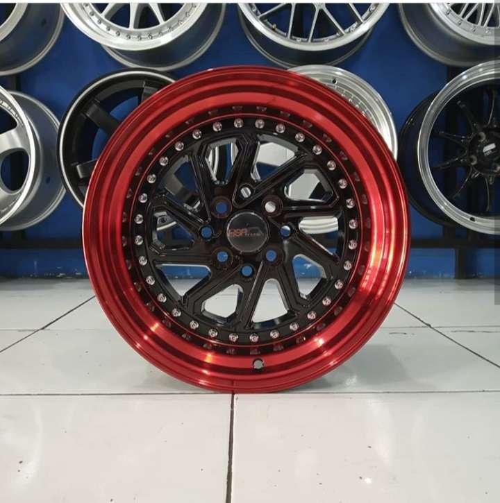 Velg Mobil Visto Agya dll Ring 15 HSR DOBO BLACK RED H4X100-114,3 0