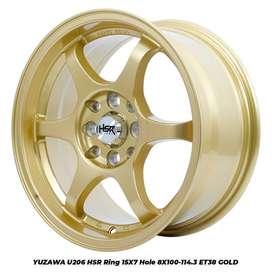 modifikasi velg mobil racing HSR R15X7 H8X100-114,3 ET38 GOLD
