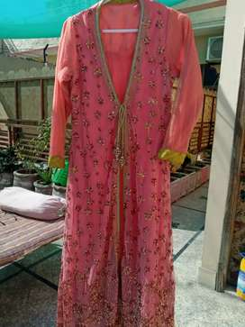 Latest net double shirt gown