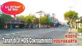 Tanah BONUS KIOS di Jl HOS COKROAMINOTO KODYA YOGYA, Lt 373m² ld 9m.