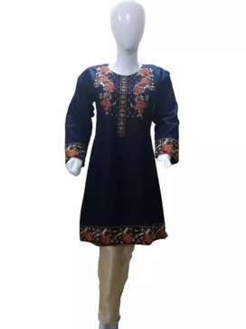 2pc Khaddar Embroidered Stitched Shirt with Masoori(Free Delivery)