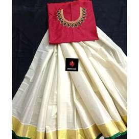 Customized traditional palakka padava top with aari work on neck