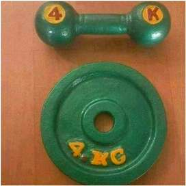 Cast iron dumbell and plates