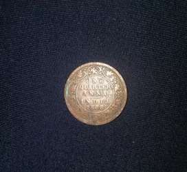 Old coin 1888 One Quarter Anna India