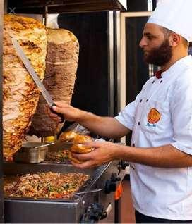 Shawarma, burger and Franke roll