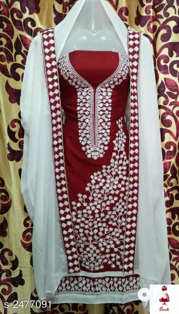 Stylish cotton embroidery dress material 0