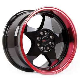 Bisa Kredit Velg HSR-Loud-JD805-Ring-16x8-9-H8x100-ET35-30-Black Red