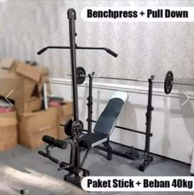 BENCH PRESS MULTIFUNGSI STIK + BEBAN 40 KG
