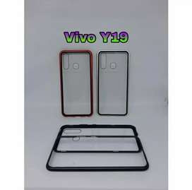 Case Vivo Y19 Case Magnetic Tempered Glass Back & Metal Frame Premium