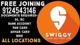 SWIGGY,  (फ्री ज्वाइनिंग)  , EARN UPTO 25000/-(ALL LOCATIONS NCR )