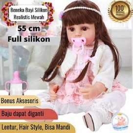 Boneka Bayi Full Silikon 55 cm Jumbo Premium Bisa Mandi Mewah Cantik S