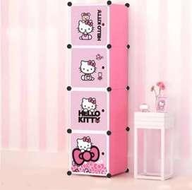 Lemari Plastik 4 Pintu Karakter Hello Kitty