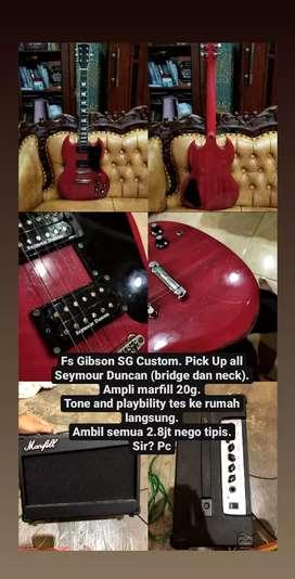 Gitar listrik (Guitar Elekktrik) Gibson SG Custom dan ampli Marfill
