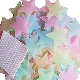 Pack Of 100 - Fluorescent Night Glowing Stars Wall Sticker