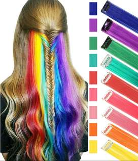 Long Straight Synthetic Clip-In Hair Extensions Multi Color Pack of 6