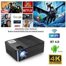3D Android WI-FI,BT 4K LED Projector, 7500 Lumens 4D Correction