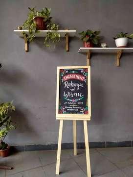 Blackboard Backdrop Acara Lamaran Pesta Pernikahan Standing Board