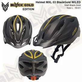 HELM MXL 03 HITAM GOLD WITH LED