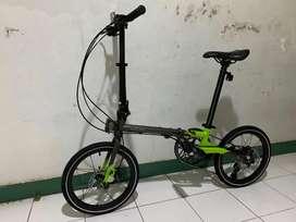 Sepeda Lipat Element Troy 10S Grey Green