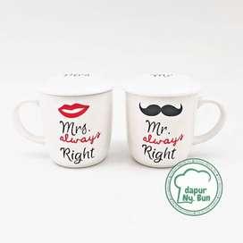 Mug Couple + Tutup Mrs. Always Right / Mug Keramik